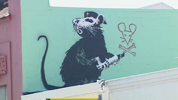 Banksy rat painting for Banksy mural painted over